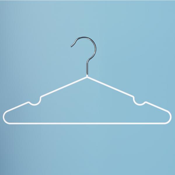 Вешалка металлическая для одежды белая прорезиненная 04L