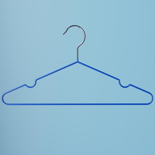 Вешалка металлическая для одежды синяя прорезиненная 04L