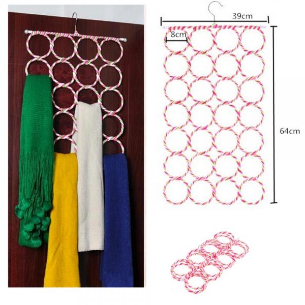 Вешалка металлическая с кольцами для шарфов плетение из Ротанга - 288